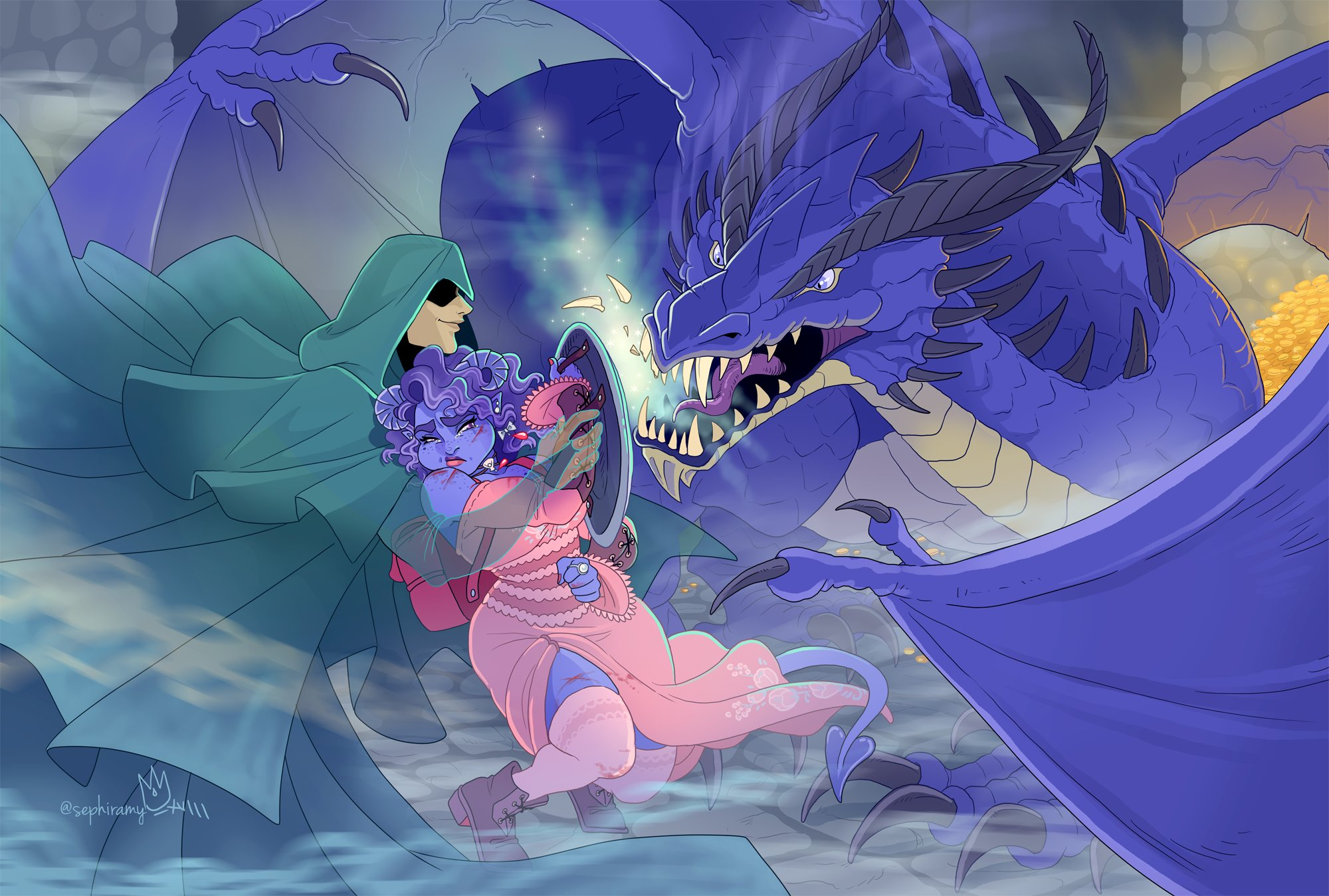 Jester and The Traveler vs the blue dragon by Amy King.jpeg