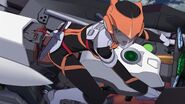 Cross Ange ep 20 Ersha piloting Raziya in Flight Mode