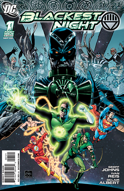 "A masked man in green and black bearing a glowing green ring leads four other comic superheros, one of whom is Superman. Behind them and much larger is the top half of a sinister black humanoid holding a dark green lantern, and behind him in the distance is a host of comic villains. ""BLACKEST NIGHT"" is at the top and ""DC"" at top left."