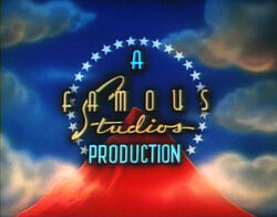 Famous Studios logo, as seen during the opening credits of a 1950s Popeye the Sailor cartoon.