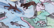 Was nawahni compared to other aquatic animals, including an otter (bottom middle)