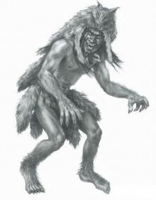 A drawing of a Skin-Walker weaing the pelt of a wolf..jpg
