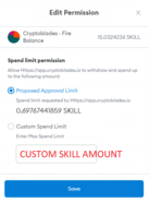 Custom spend amount