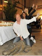 Rex, Eva and Emily (riding a crocodile)