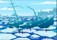 Full shipwreck frozen