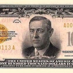 United States 100,000 dollar banknote