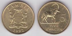 Zambia 5 kwacha 1992 WCG.jpg