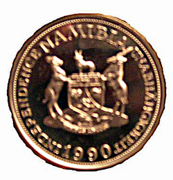 Münze-Namibia-10 Mark-1990-Probe-verso.png