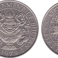 BHUTAN KINGDOM 5 CHHETRUMS 1979 UNC SYMBOLS WITHIN CIRCLE DATE BELOW