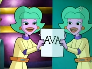S01E10 Ava's name reflected in a mirror