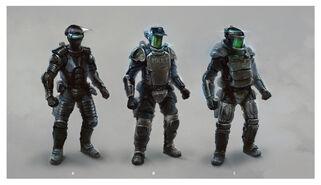 Cyberpunk 2077 opancerzenie policjanta (concept art)