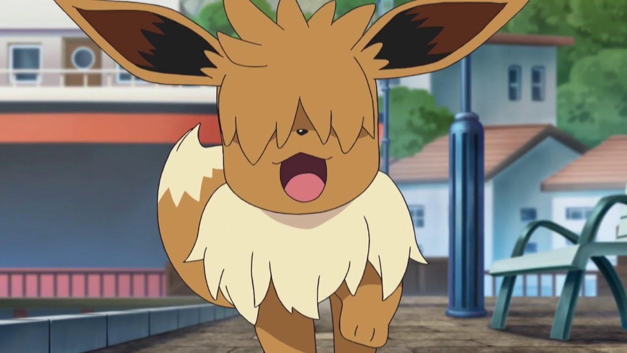 Un pequeño Eevee se topa con un Houndour hambriento en la serie Pokémon Sol y Luna-Ultraleyendas