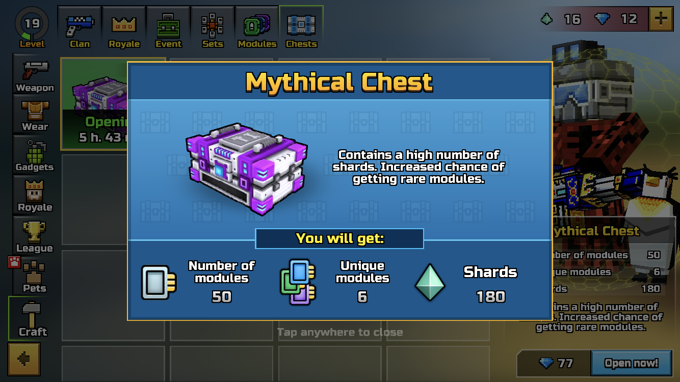 I got a mythical chest!!! 201 gems to open. Before I started it.