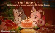 Spike Chunsoft Monokuma and Monomi Happy Holidays Card 2014