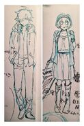 Sketch de Misaki et Takumi tenues différentes Mitomo Sasako