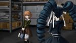 Danganronpa 1 CG - Celestia Ludenberg seeing Chihiro Fujisaki in the supply room