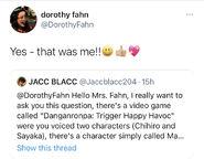 Danganronpa 1 Dorothy Elias-Fahn Naegi Mom VA Tweet