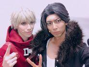 Danganronpa 3 THE STAGE Keisuke Kaminaga and Taiyo Ayukawa in costume as Sonosuke Izayoi and Juzo Sakakura (1)
