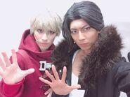 Danganronpa 3 THE STAGE Keisuke Kaminaga and Taiyo Ayukawa in costume as Sonosuke Izayoi and Juzo Sakakura (2)
