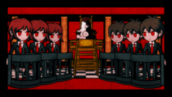Danganronpa 1 CG - Monokuma explaining the Class Trial.png