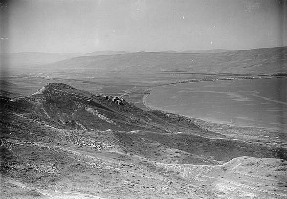 Elephoto view from summit looking S. showing ruins on southern hill identified as possible Gamala, Samakh & S. end of sea