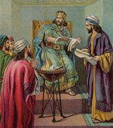 Jehoiakim Burns the Word of God (Bible Card)