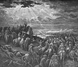 """""""אָז יְדַבֵּר יְהוֹשֻׁעַ, לַה', בְּיוֹם תֵּת ה' אֶת-הָאֱמֹרִי, לִפְנֵי בְּנֵי יִשְׂרָאֵל; וַיֹּאמֶר לְעֵינֵי יִשְׂרָאֵל, שֶׁמֶשׁ בְּגִבְעוֹן דּוֹם, וְיָרֵחַ, בְּעֵמֶק אַיָּלוֹן (י',י""""ב) - צייר: גוסטב דורה"""
