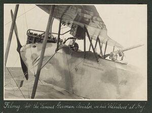 Felmy (left) the famous German aviator, in his 'Albatross' at Huj, 1916