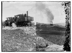 Australian army engineers in 2 locomotives 1918