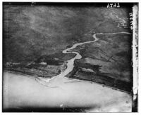 Air views of Palestine Inflow of Jordan into Lake of Gennesaret Northern end of the lake octoiber 1931