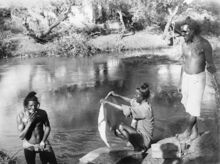 He Advance through Palestine and the Battle of MegiddThree Indian soldiers bathing in the river Auja.