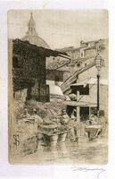 Telemaco Signorini acquaforte, Fonte del Mercato Vecchio,1874