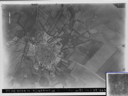 Arak el-Manschije (an der Bahnlinie Wadi es-Sarar-Beerseba) und Umgebung צילום מיום: 28 במאי 1918 - לפחות חצי שנה לאחר כיבוש האתר על-ידי הבריטים - אולי מעיד על הנחישות לכבוש חזרה את האזור. אפשר להבחין בתל המצוי צפונית מקרית גת תל ערני, צפונה מכביש אשקלון-בית גוברין
