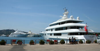 Three luxury yachts - Lady Anne, Lady Moura and Pelorus