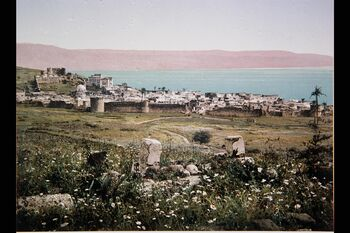 ARAB VILLAGE ON THE SHORE OF THE SEA OF GALILEE. COLOR PHOTO TAKEN IN THE LATE 19TH CENTURY BY THE FRENCH PHOTOGRAPHER, BONFILS, FILMED PEOPLE AND PLACES IN PALESTINE צילום צב