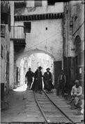 Minimum gauge railway train Yafo streets 1920 1