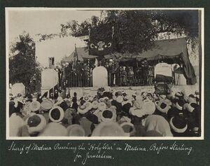 Sherif of Medina Preaching the Holy Wain Medina. Before starting for Jerusalem, 1914.