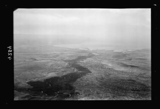 Jordan River. A general view looking south from above the Allenby bridge, Dead Sea seen in distance