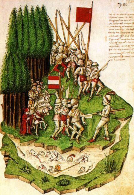 Bendicht Tschachtlan, Die Schlacht am Morgarten (c. 1470)