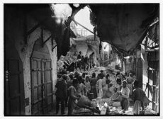 The earthquake of July 11, 1927. Blocked-up street in Nablus, choked by fallen houses which entombed many inhabitants