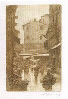 Telemaco Signorini acquaforte 2C Via degli Speziali in inverno2C 1874