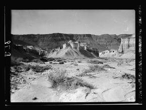 . Dead Sea shore. (Castle-like erosion formations)