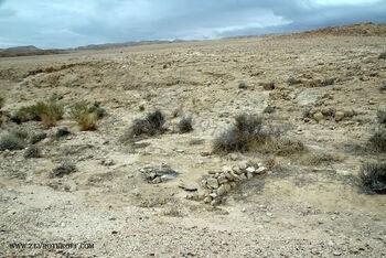 רמת המדבר, שרידי מדורה עם חומת מגן