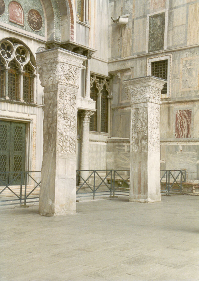 Pillars from St Polyeuktos Constantinople outside south wall of San Marco in Piazzetta Venice known as Pillars of Acre.jpg