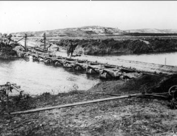 A pontoon type bridge over the Wady el Auja-Hyarkon
