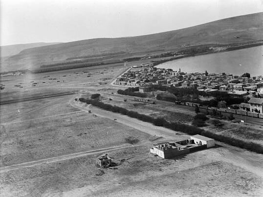 Semakh. An Arab town on the south end of the sea of Galilee