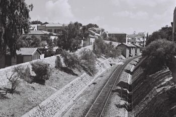 RAILWAY TRACKS LEADING FROM TEL AVIV TO JAFFA. פסי רכבת המובילים מתל אביב ליפו.D839-110