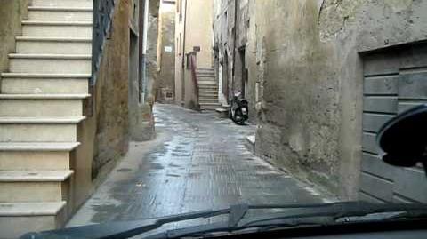 Driving through Pitigliano in Italy