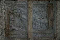 Perugia - Fontana Maggiore - 4 - Allegoria del leone e del cagnolino