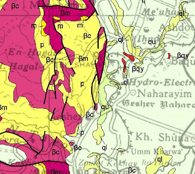 מפה גאולוגית של האזור 1 למאתים אלף - מפה גאולוגית מספר 1 של המכון הגיאולוגי.png